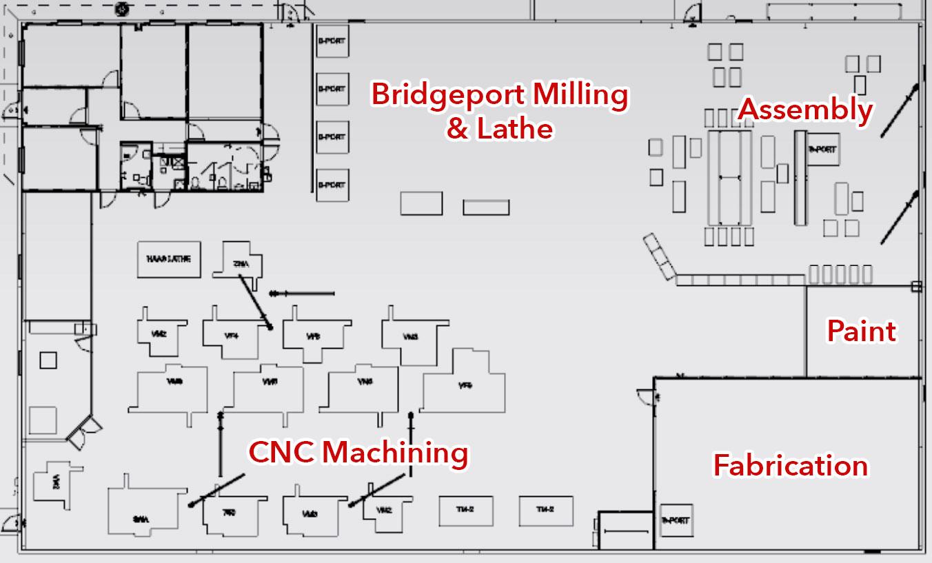 Floorplan of Saginaw Industries facility