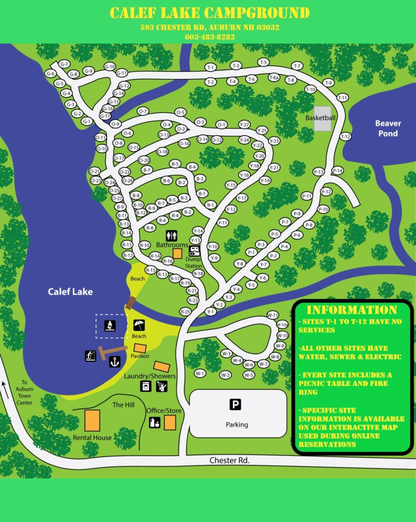 Calef Lake Campground Map
