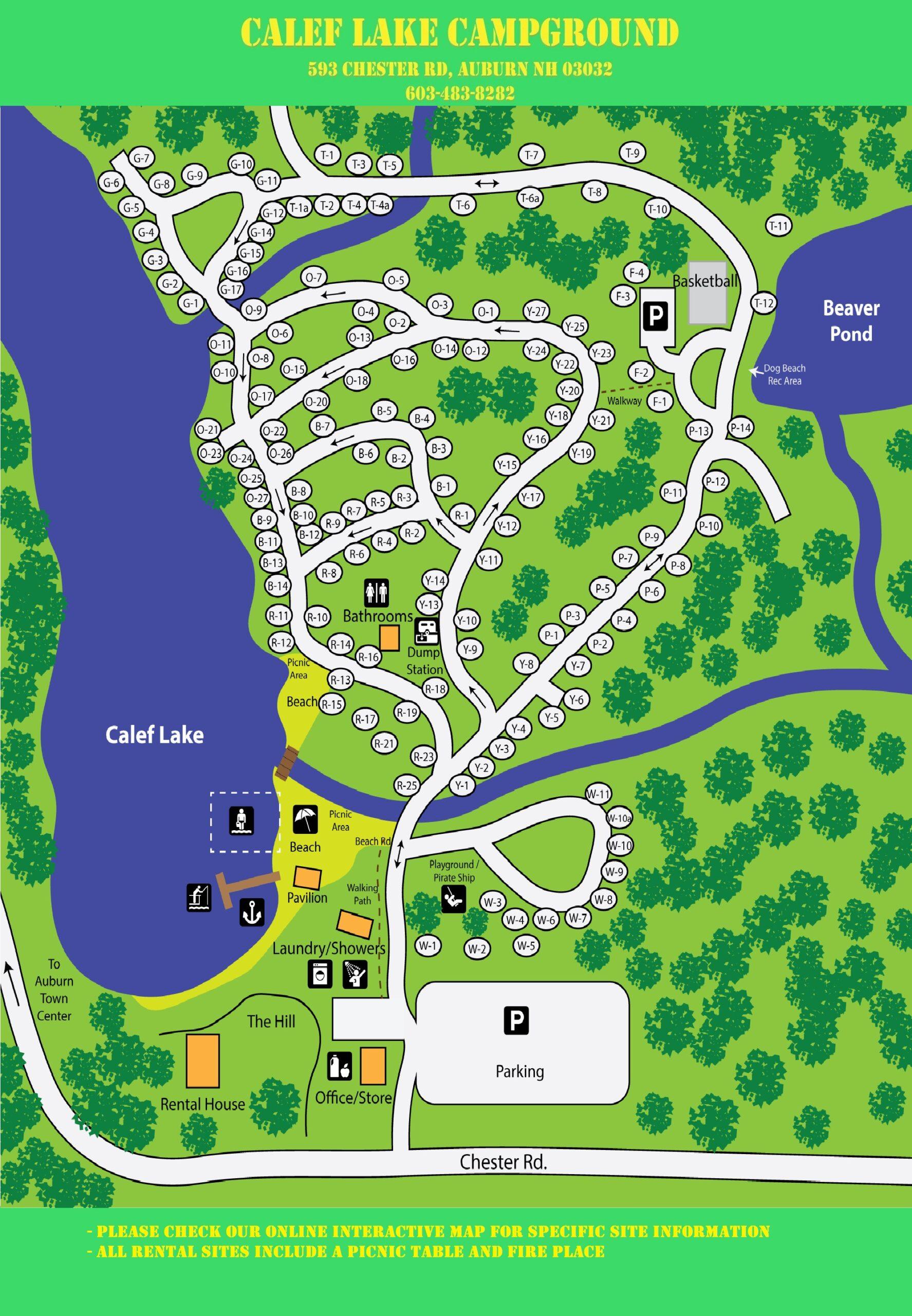 Calef Lake Campground Map