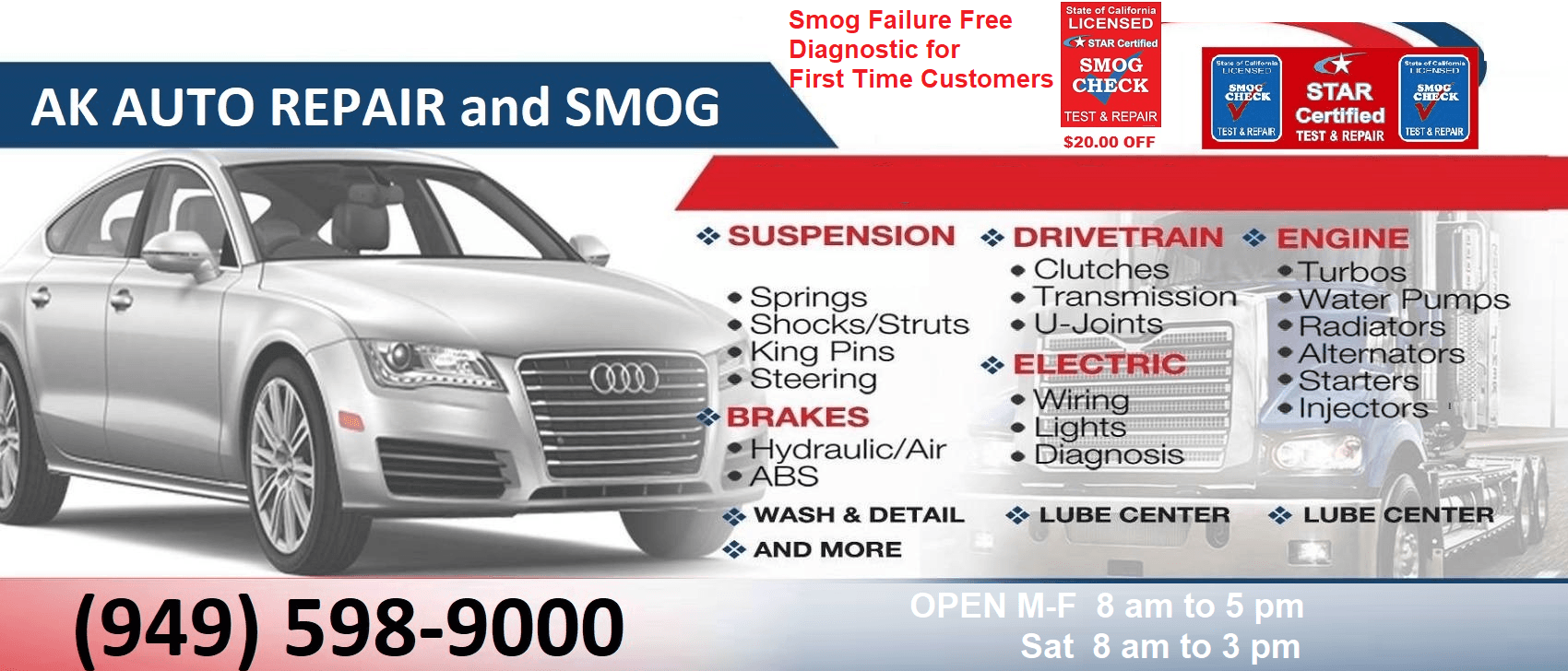 AK Auto Repair and Smog display specials ad