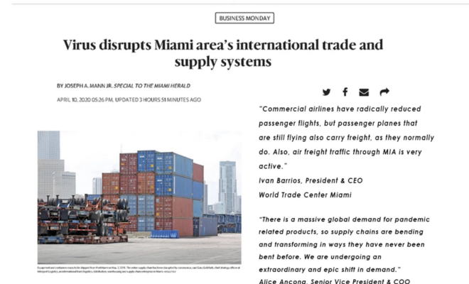 Virus disrupts Miami area's international trade and supply systems - World Trade Center Miami