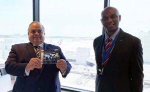 World Trade center miami chairman receives NASBITE award with Director of International Protocol at MIA Desmond Alufohai