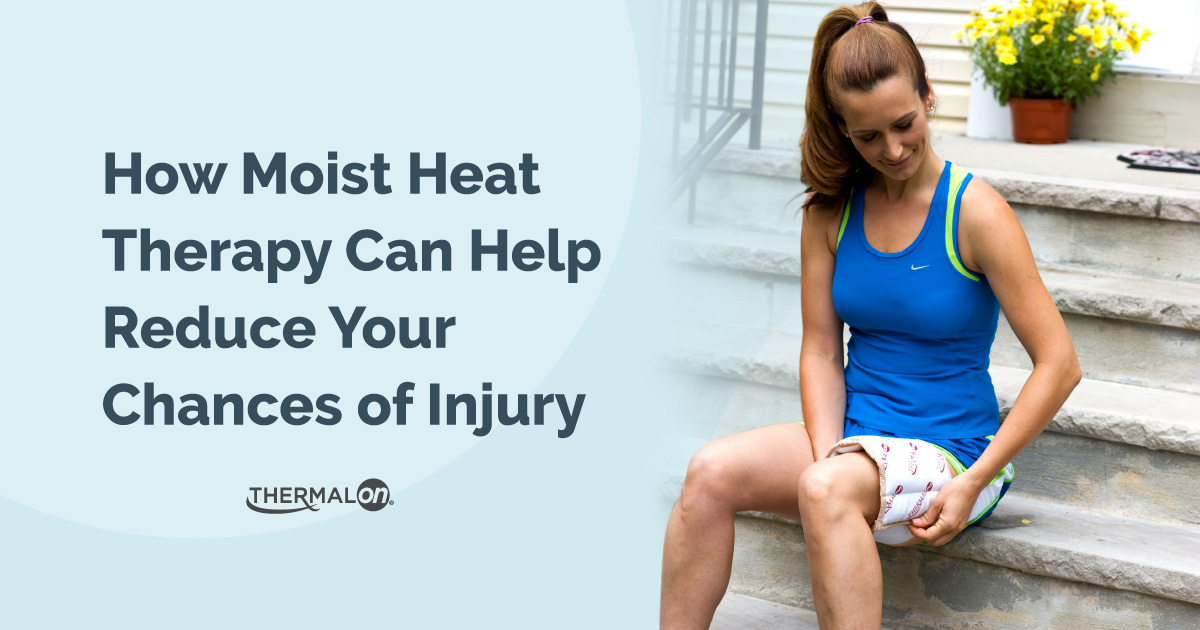 A woman using a Thermalon moist heat compress to reduce her chances of injury