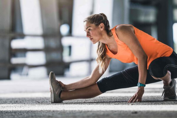 Woman stretching before her workout