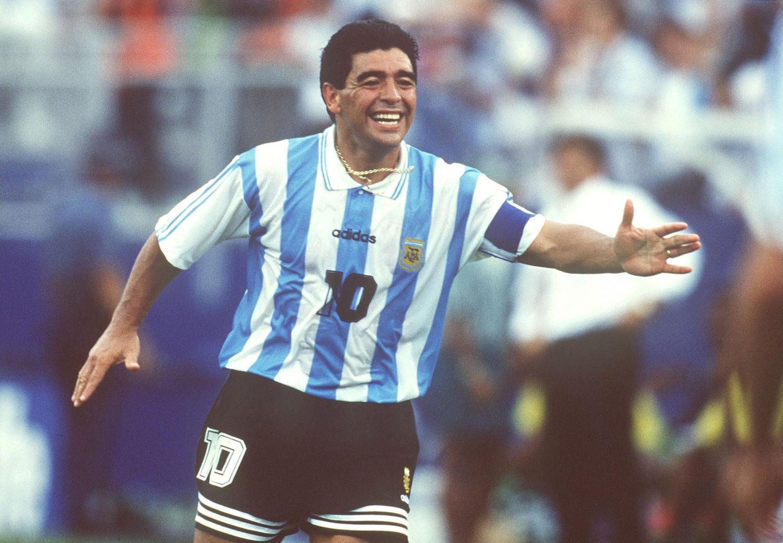 Maradona en su último partido con la selección argentina en el mundial de Estados Unidos 1994 que ganaría 2 a 1 contra Nigeria. ©Michael Kunkel/Bongarts/Getty Images.