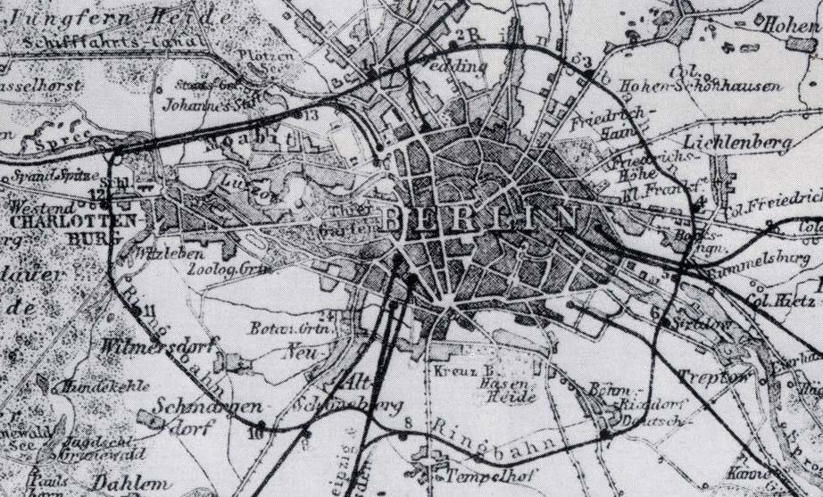 Trazado del Ringbahn en 1885.