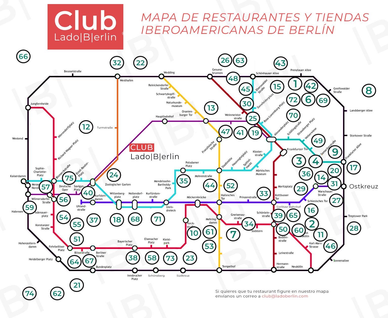 Mapa de los restaurantes y tiendas iberoamericanos de Berlín.