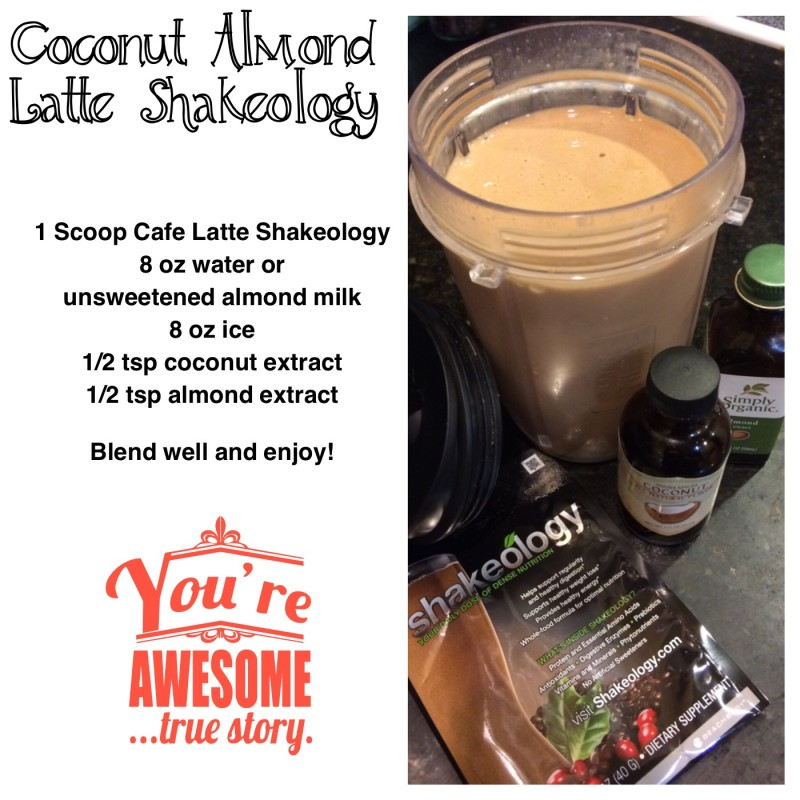 Coconut Almond Latte Shakeology! If you love frappuccino's you will enjoy this!