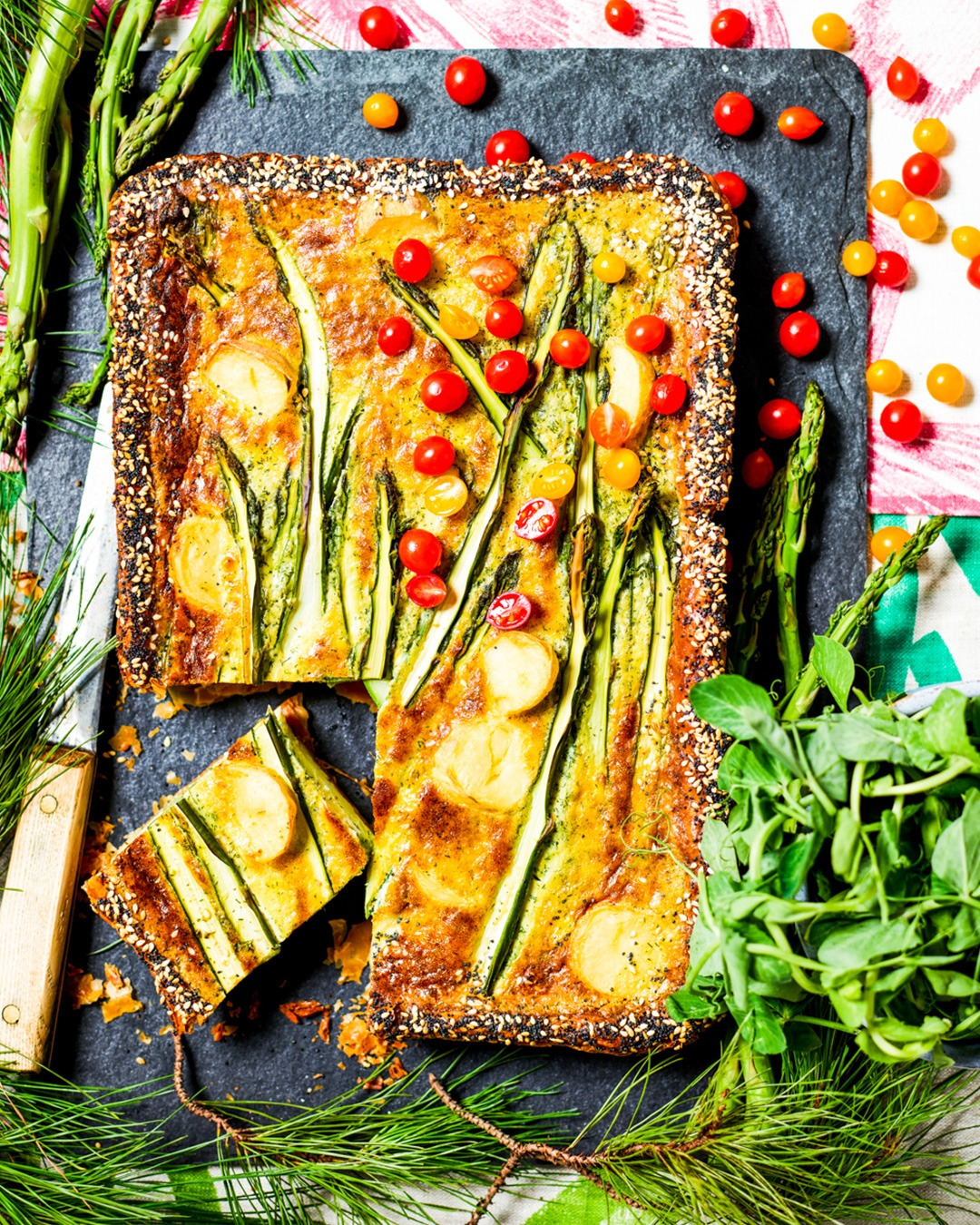 Asparagus, Baby Potato and Whipped Cheese Tart