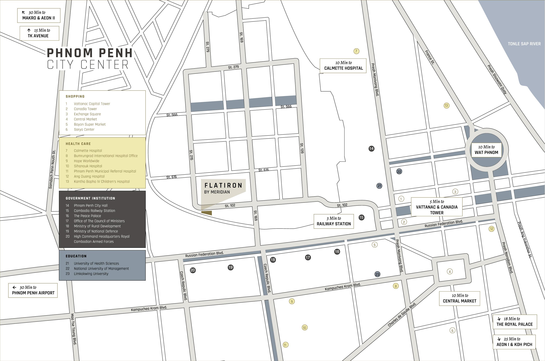 Flatiron Cambodia Meridian Location