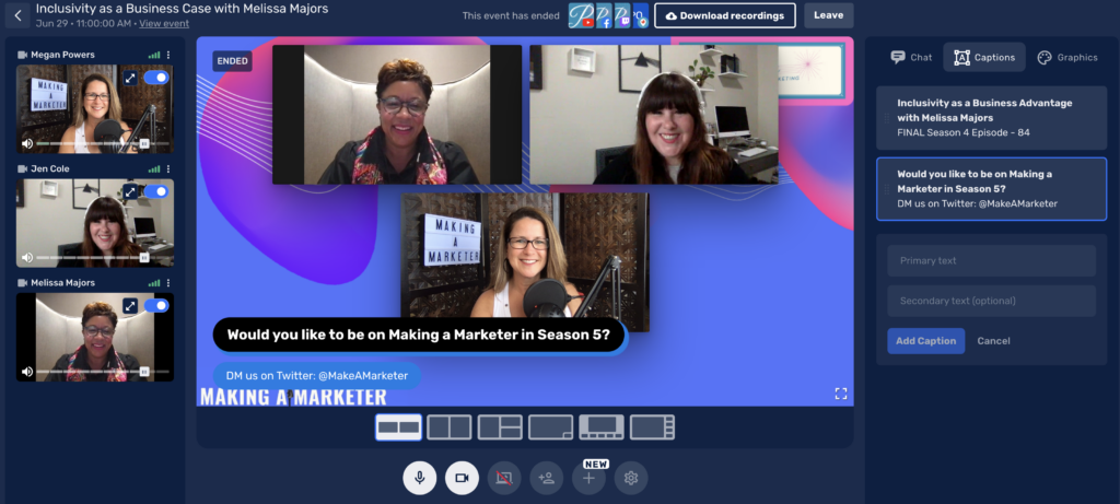 Behind the scenes image of Megan and Jen hosting episode 84 of the Making a Marketer podcast with Melissa Majors