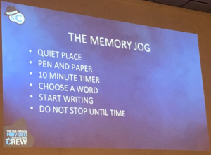 The Memory Jog slide from Chad Illa-Peterson's talk at SMWL21