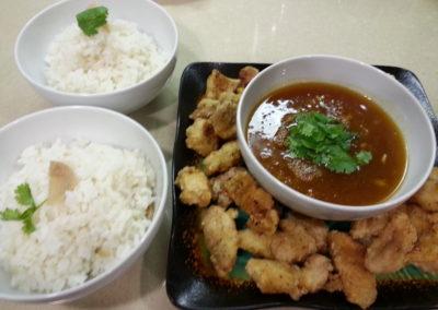 Mandarin chicken, coconut ginger rice