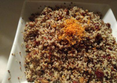 quinoa salad, tart cherries, candied hazelnuts