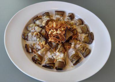 Eggplant, tahini crispy shallots