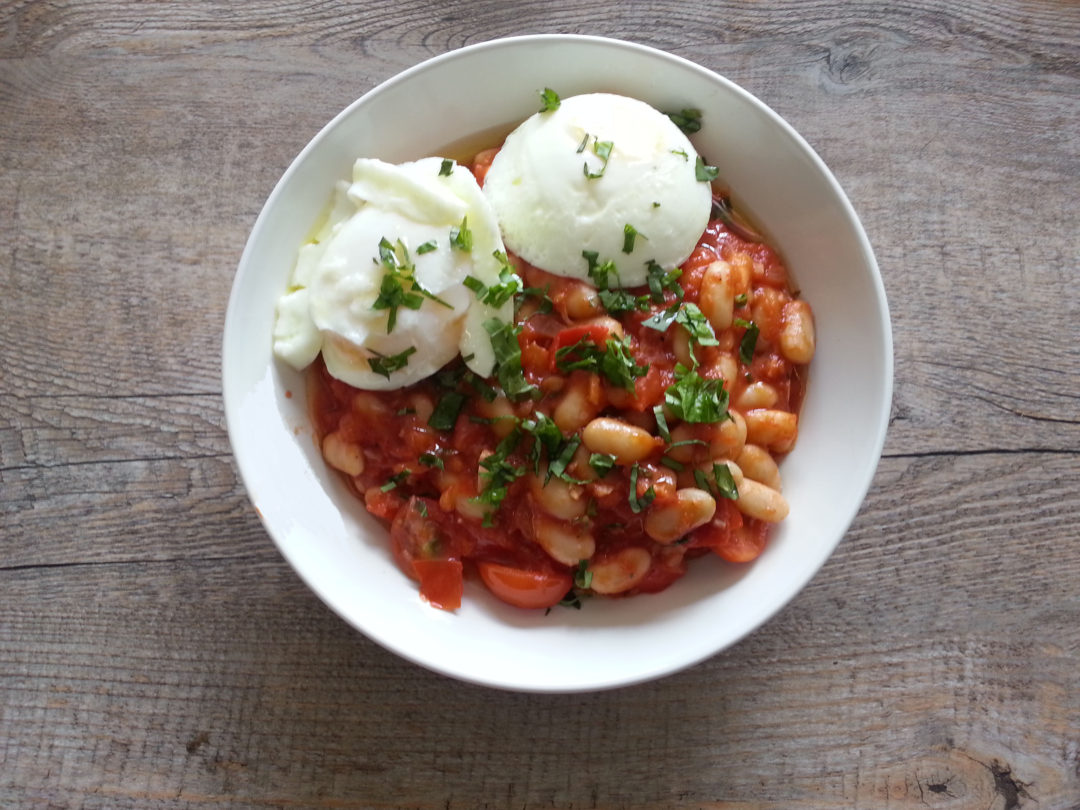 White Beans Poached Eggs in Tomato broth