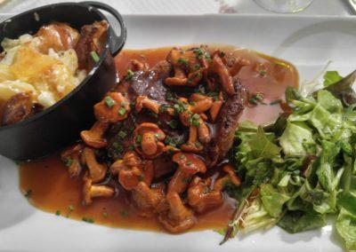 filet with wild mushrooms and potato gratin
