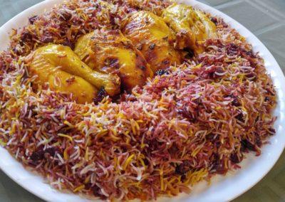 Sour cherry rice with Saffron chicken