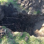 Hole is dug for flagpole installation