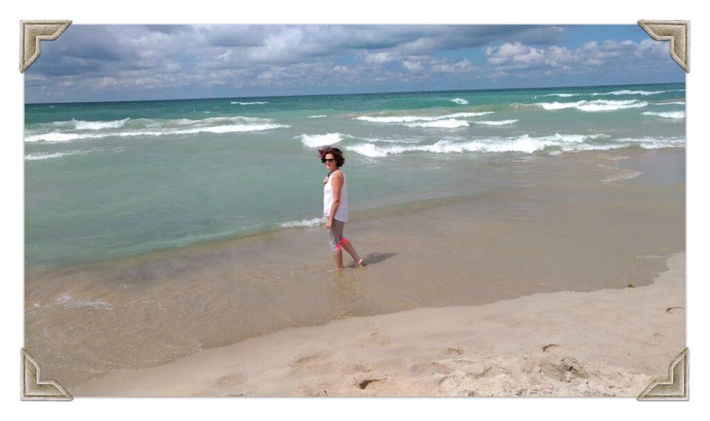 Kim on the beach
