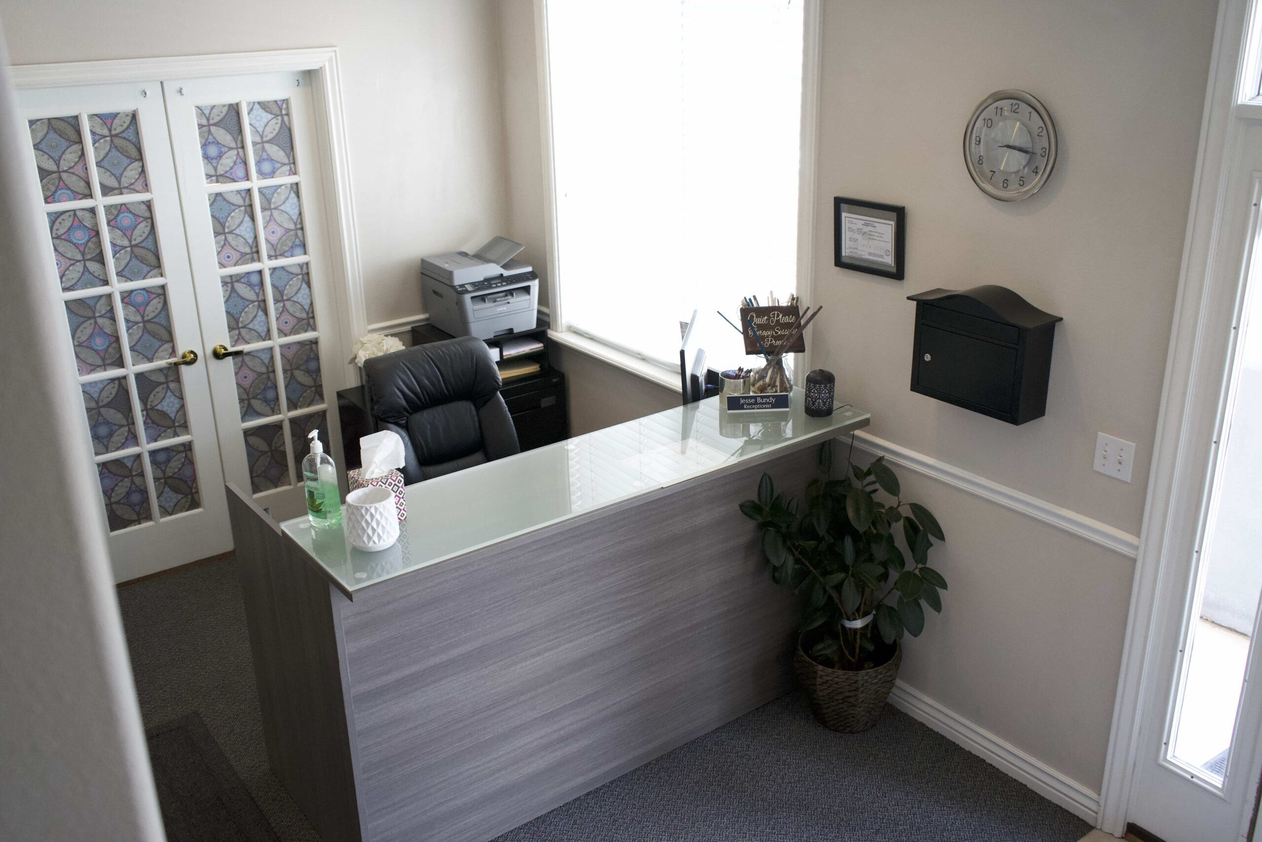 Unified Family Therapy front office receptionist desk