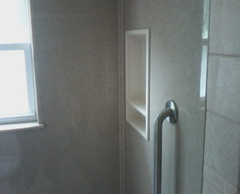 Onyx gray surround white soap caddy and vertical safety grab