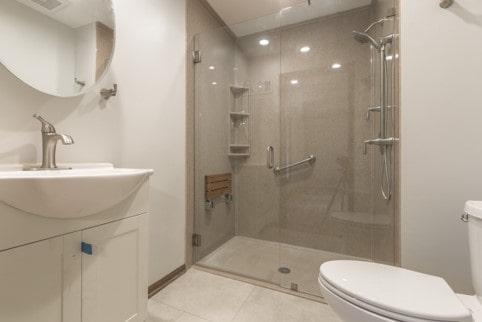 Onyx handicap shower with new white vanity