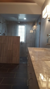 Handi capable bathroom grey tile