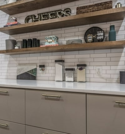 New floating shelving in Keener kitchen remodel