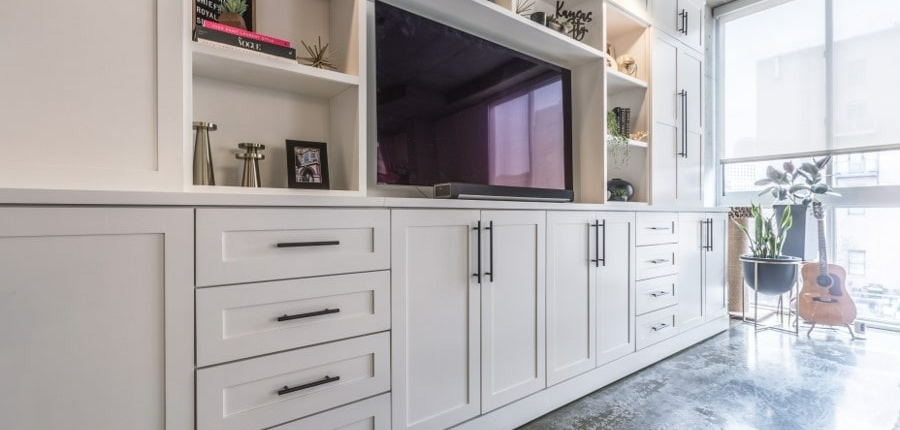Keener entertainment center with lots of natural lighting
