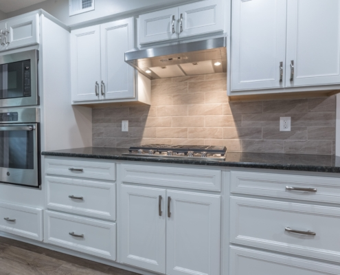 Aker kitchen with new gas stove top