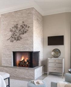 odd corner fireplace after