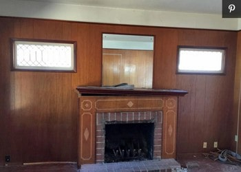 old panel fireplace before