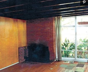 old worn brick fireplace before