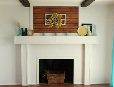 Smooth wood fireplace after