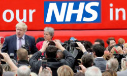 Cover Page 174 with Johnson and the 'Brexit battle bus' covered in its specious promises behind him