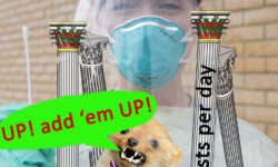 Nurse with swab behind pillars representing UK government counts of Covid19 tests per day