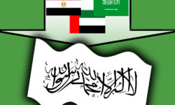 Image of two arrows pressing down and up on a Taliban flag. Egypt, Saudi Arabia and the UA press down, while Turkey and Qatar press up.