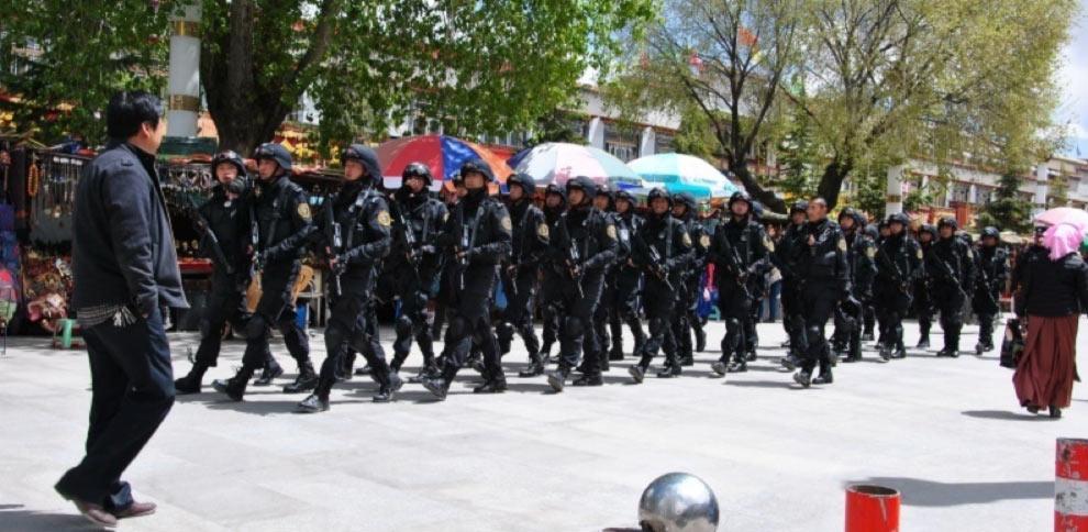 Heavily armed police