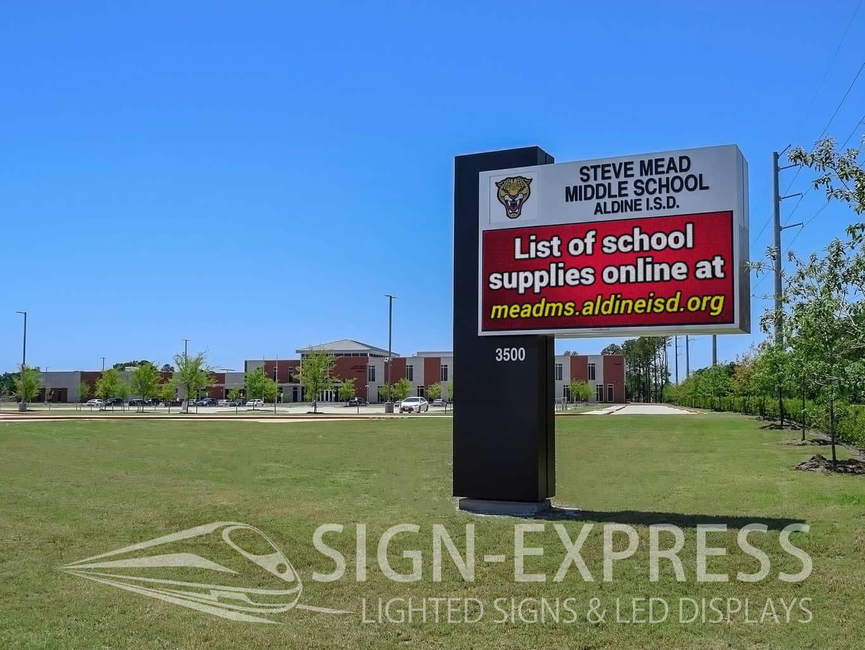 Aldine ISD LED School Monument Sign
