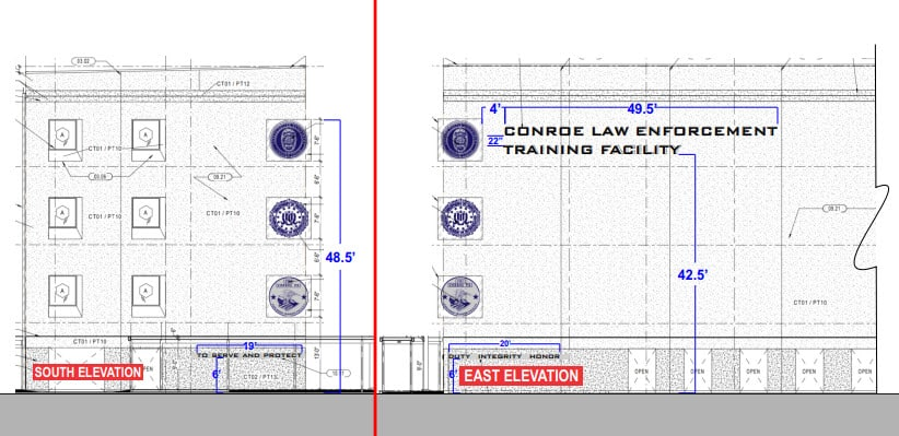 Conroe Law Enforcement Training Facility Municipal Building Signs Architectural Drawing