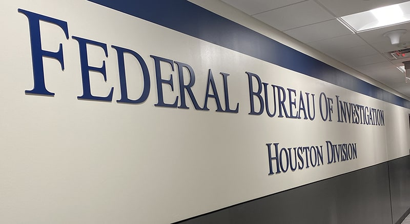 FBI Houston Division Wall Letters