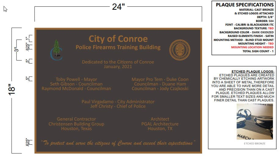 Conroe Training Facility Dedication Plaque Design