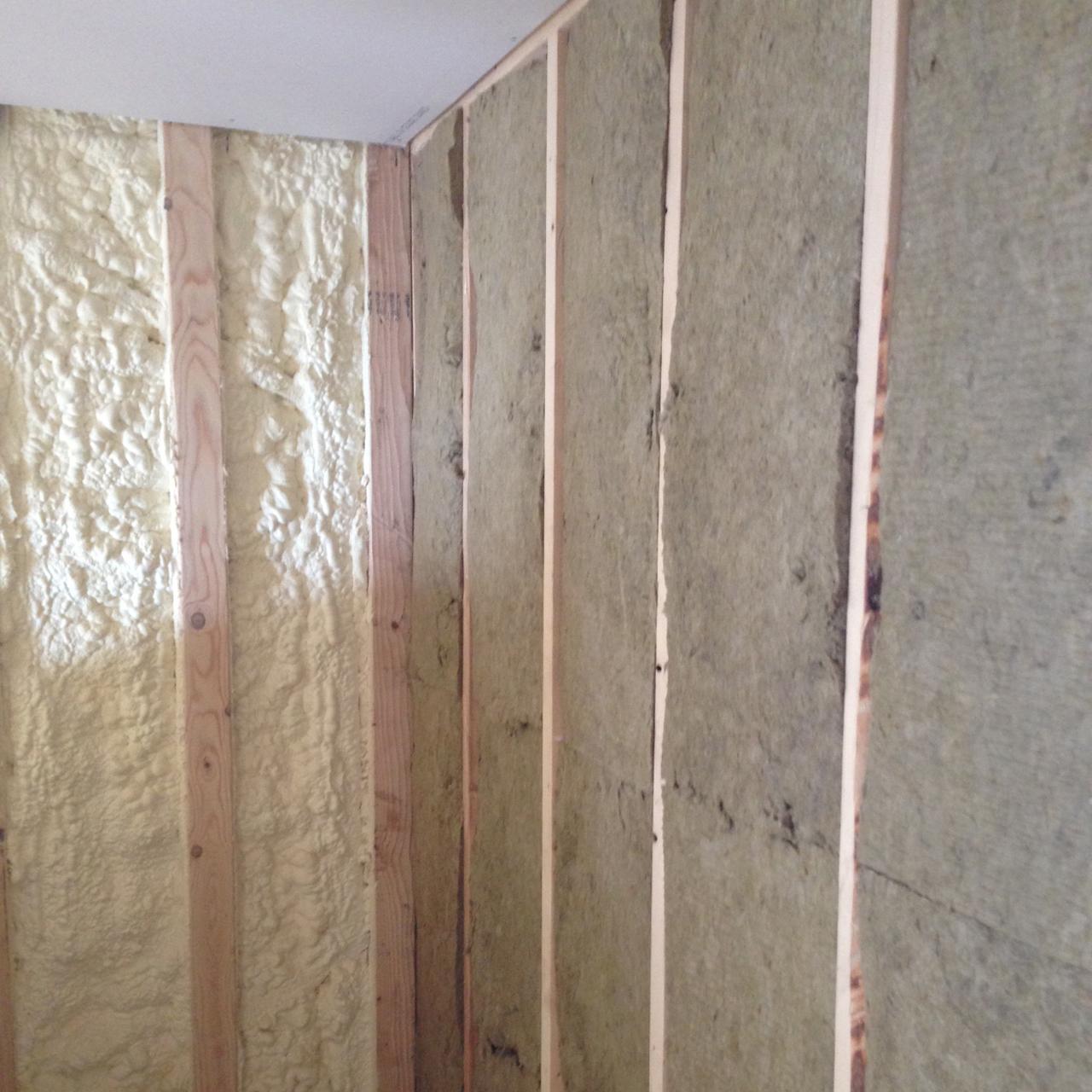 Roxul batt office sound dampening closed cell spray foam