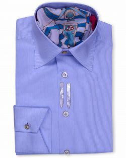 Ferruccio Milanesi luxury men's shirt, Classic Style Tailored Fit Blue Striped Dress Shirts. The best combination of luxury fabrics, cotton and silk, Crafted in Naples, Italy, by Ferruccio Milanesi's master tailors.