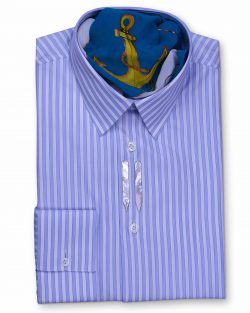 Ferruccio Milanesi tailor made Classic Collar Tailored Fit Blue Striped men's dress Shirts. exclusive luxury fabrics, silk and cotton shirt, luxury men's shirt in Vancouver, unique men's shirt