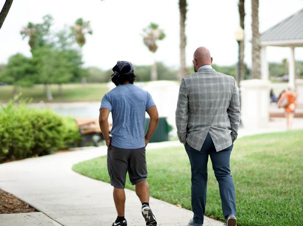 two sober men walking