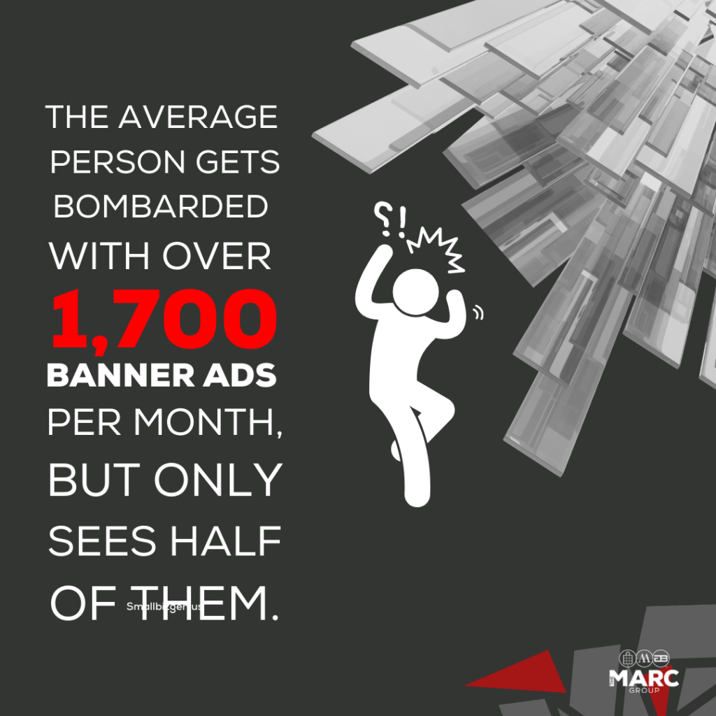 The average person gets bombarded with over 1,700 banner ads per month, but only sees half of them.