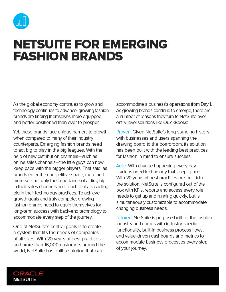 NetSuite for Emerging Fashion Brands