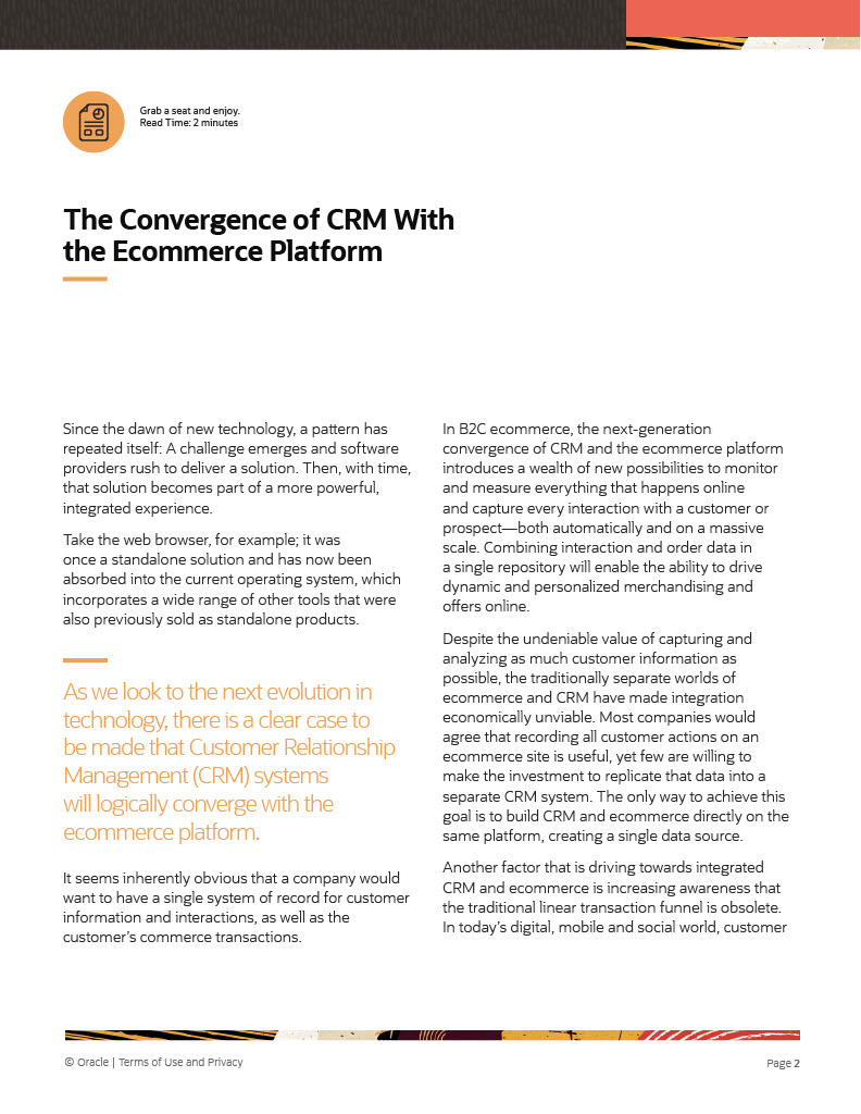 The Convergence of CRM With the Ecommerce Platform